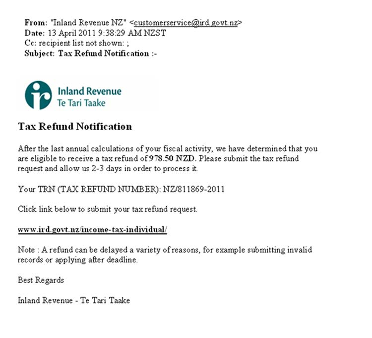 An online phishing scam email - example 1